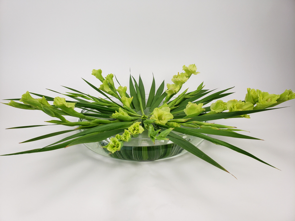 Using a Kenzan to place Gladiolus flower spikes in a vase