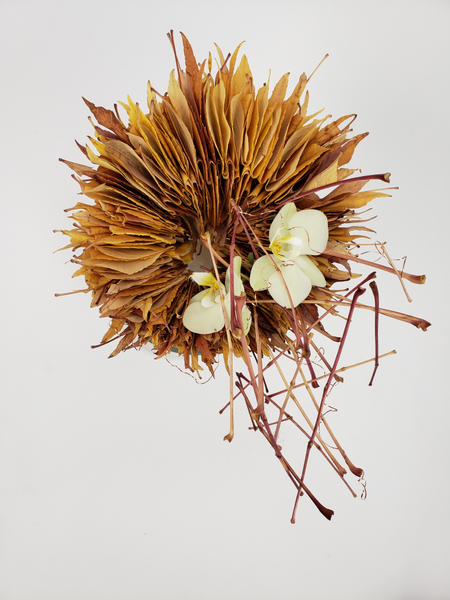 Contemporary Autumn floral design ideas using foraged leaves