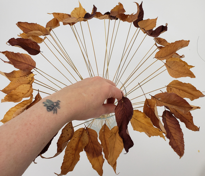 Dancing fall leaves... on a stick