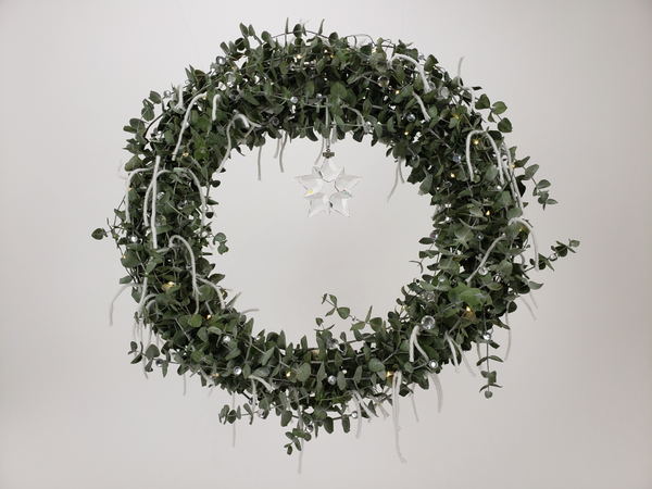 A Happy, Merry, Jolly  (easy as that!) Eucalyptus wreath Christmas floral art design by Christine de Beer