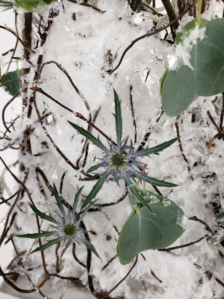 Eryngium snowflakes on a handmade natural Christmas tree
