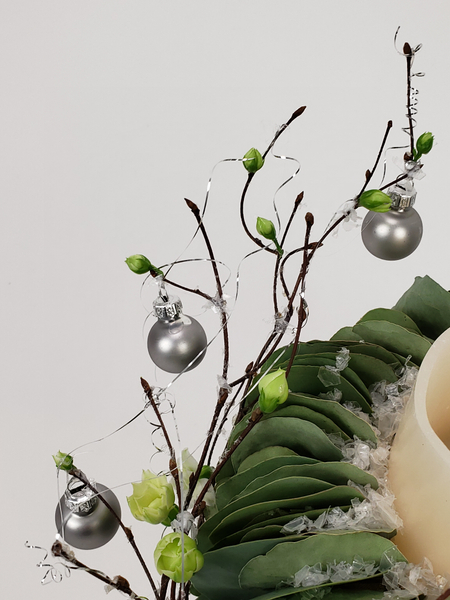 Succulent and eucalyptus Christmas decoration that is unusual and long lasting