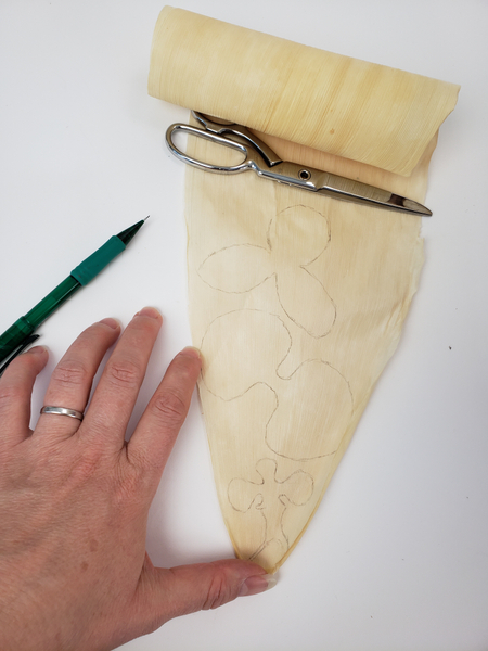 Draw the outlines of the orchid on the husk