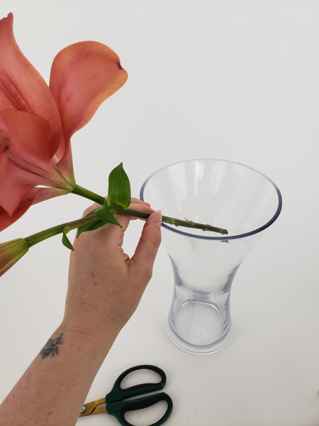 Place the stem in a water filled vase so that it remains hydrated