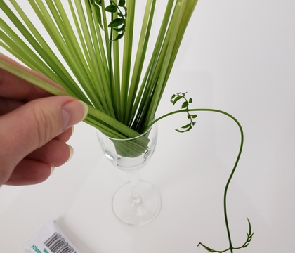 Controlled breaking a thin reed to create a grass spiral armature