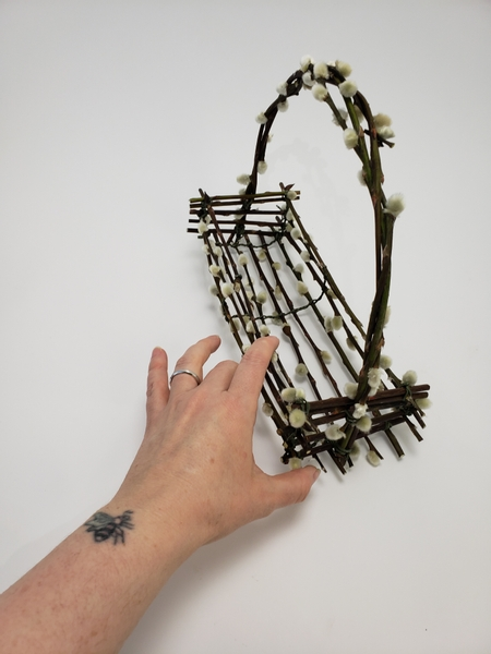 The pussy willow basket is now ready to design with