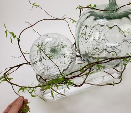 Weave a willow wreath around a minimal pumpkin display